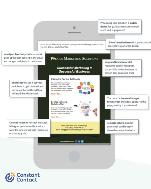 Mobile view of Constant Contact eBlast campaign